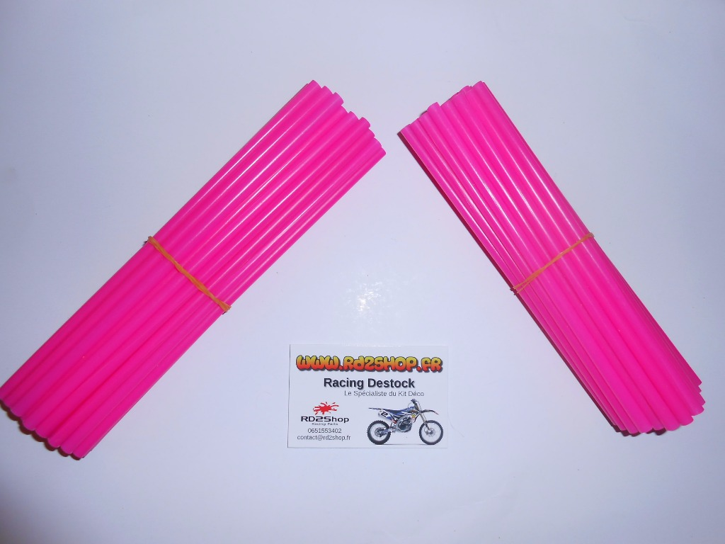 Couvres Rayons  Rose Fluo Pour 2 Roues