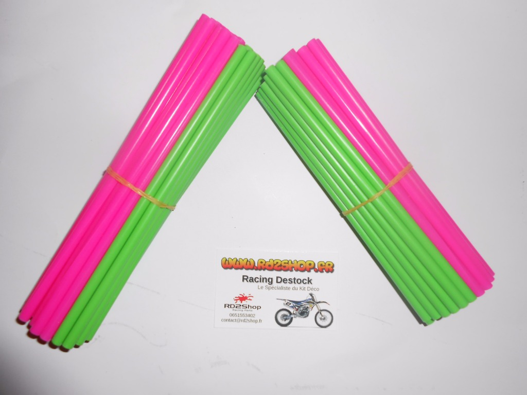 Couvres Rayons Mix 2 Couleurs Vert Et Rose Fluo