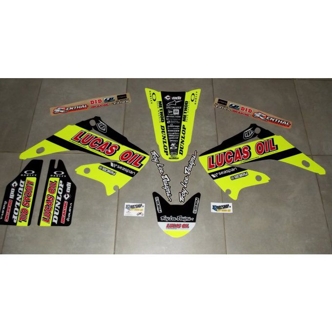 kit deco fluo jaune lucas oil honda cr 125 250