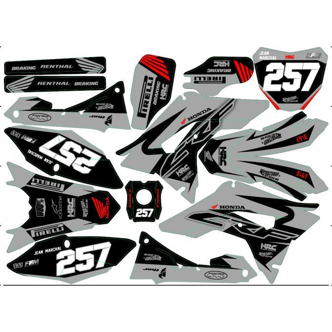 kit deco gris crf 250 - 450 2018 - 2019