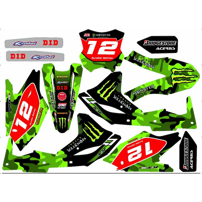 Kit deco villopoto Kawasaki KXF 450 monster  ( 2009 , 2010 , 2011 , 2012 , 2013 , 2014 , 2015 , 2016
