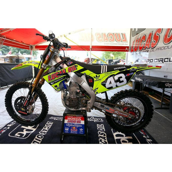 Kit Déco Complet Team TLD LIMITED Lucas Oil Neon Jaune Fluo CRF 250 / 450 honda ( 2011 / 2012 / 2013
